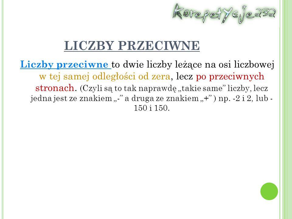 LICZBY BEZWZGLĘDNE Liczba bezwzględna, jest to odległość liczby od zera na osi liczbowej.