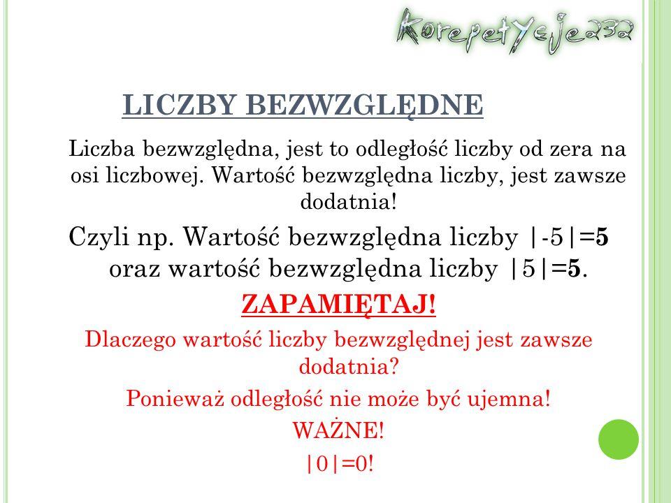LICZBY BEZWZGLĘDNE Liczba bezwzględna, jest to odległość liczby od zera na osi liczbowej. Wartość bezwzględna liczby, jest zawsze dodatnia! Czyli np.