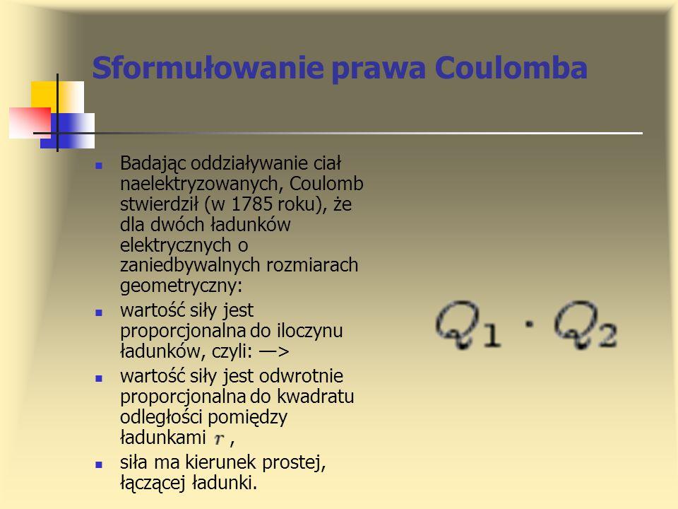 Sformułowanie prawa Coulomba Badając oddziaływanie ciał naelektryzowanych, Coulomb stwierdził (w 1785 roku), że dla dwóch ładunków elektrycznych o zan