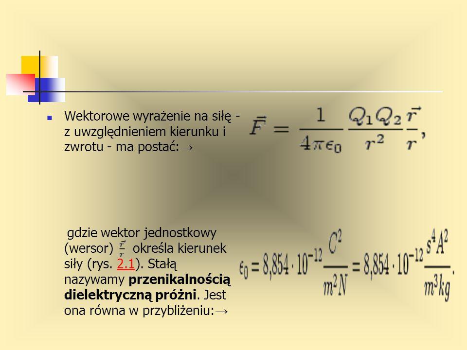 Wektorowe wyrażenie na siłę - z uwzględnieniem kierunku i zwrotu - ma postać: → gdzie wektor jednostkowy (wersor) określa kierunek siły (rys. 2.1). St