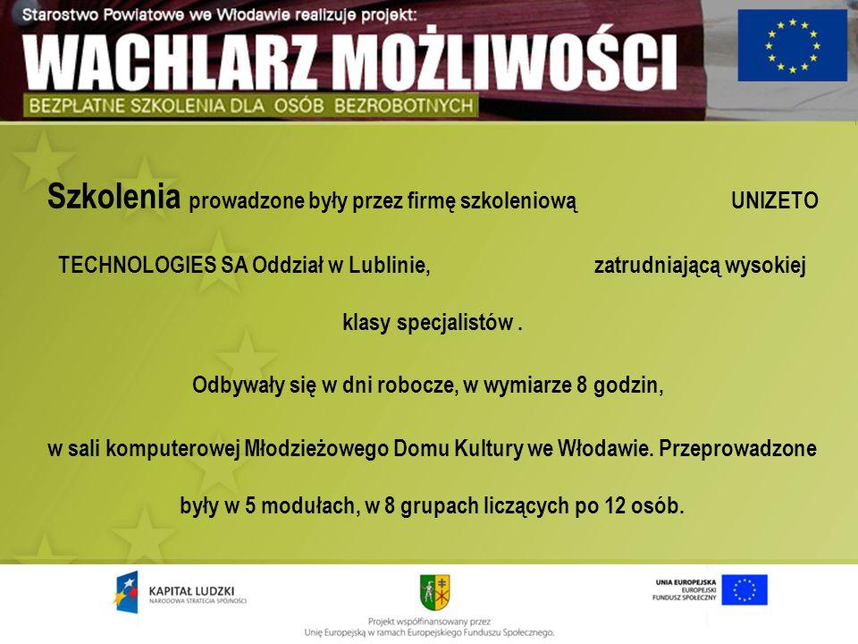 Szkolenia prowadzone były przez firmę szkoleniową UNIZETO TECHNOLOGIES SA Oddział w Lublinie, zatrudniającą wysokiej klasy specjalistów. Odbywały się