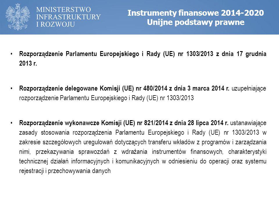 Instrumenty finansowe 2014-2020 Unijne podstawy prawne Rozporządzenie Parlamentu Europejskiego i Rady (UE) nr 1303/2013 z dnia 17 grudnia 2013 r. Rozp
