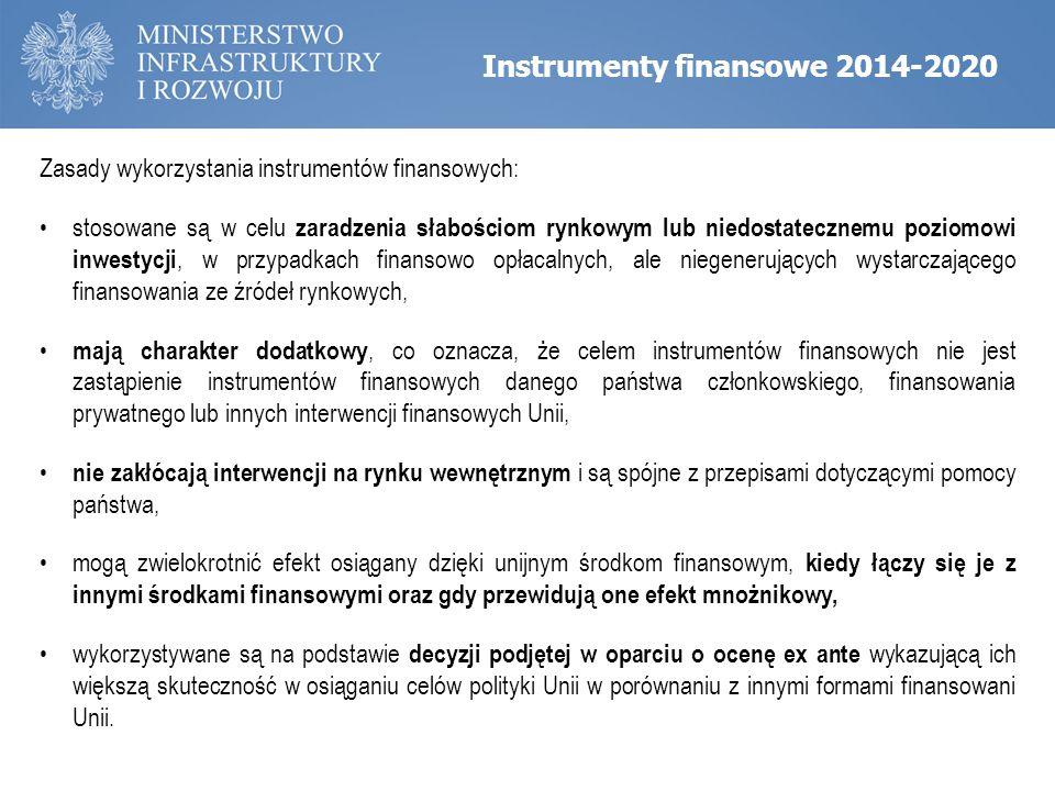 Zasady wykorzystania instrumentów finansowych: stosowane są w celu zaradzenia słabościom rynkowym lub niedostatecznemu poziomowi inwestycji, w przypad