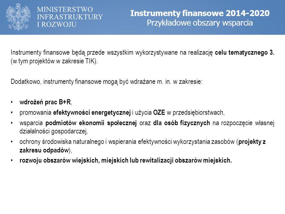 Instrumenty finansowe będą przede wszystkim wykorzystywane na realizację celu tematycznego 3. (w tym projektów w zakresie TIK). Dodatkowo, instrumenty