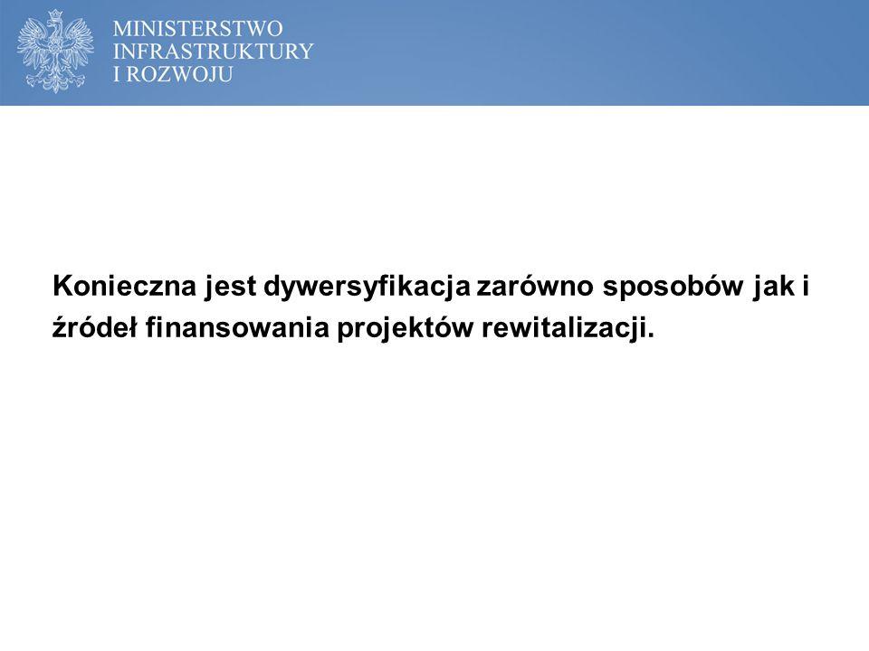 Konieczna jest dywersyfikacja zarówno sposobów jak i źródeł finansowania projektów rewitalizacji.