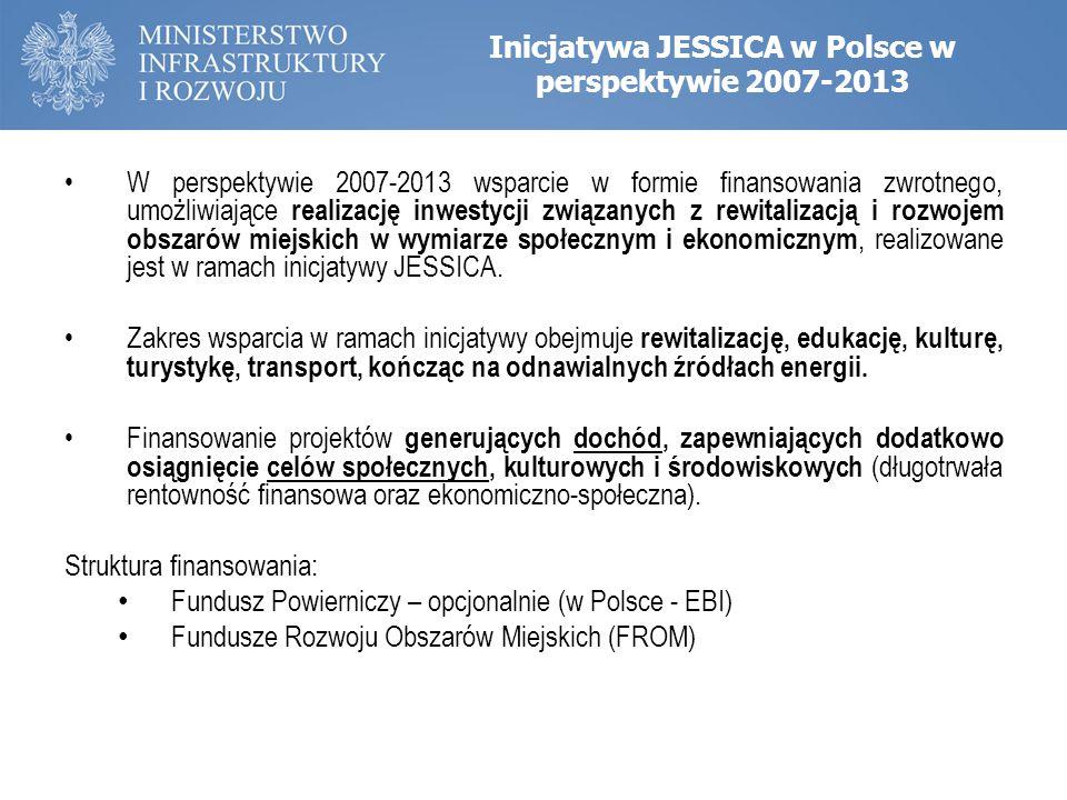 Inicjatywa JESSICA w Polsce w perspektywie 2007-2013 W perspektywie 2007-2013 wsparcie w formie finansowania zwrotnego, umożliwiające realizację inwes