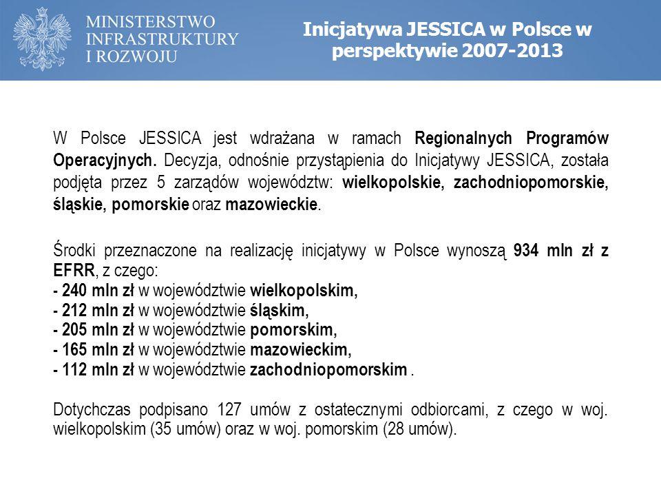 Inicjatywa JESSICA w Polsce w perspektywie 2007-2013 W Polsce JESSICA jest wdrażana w ramach Regionalnych Programów Operacyjnych. Decyzja, odnośnie pr