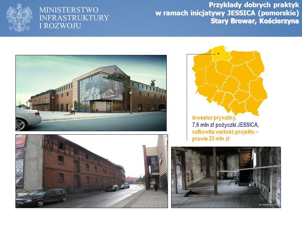 inwestor prywatny, 7,6 mln zł pożyczki JESSICA, całkowita wartość projektu – prawie 25 mln zł Przykłady dobrych praktyk w ramach inicjatywy JESSICA (p