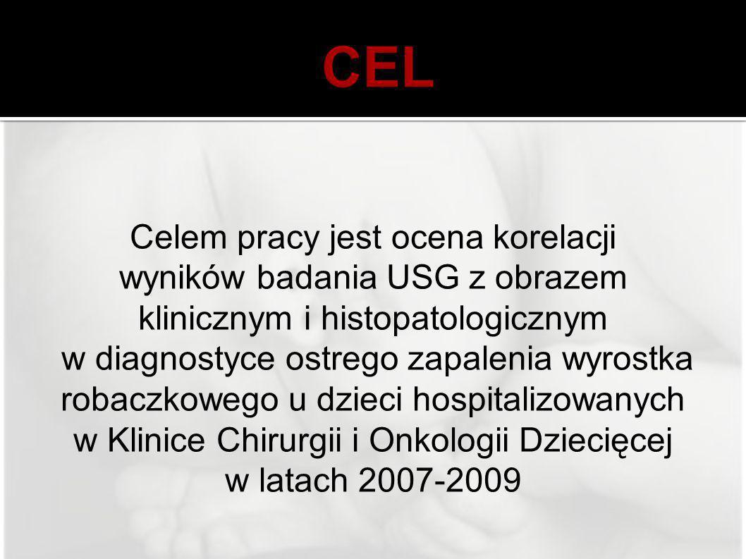 Celem pracy jest ocena korelacji wyników badania USG z obrazem klinicznym i histopatologicznym w diagnostyce ostrego zapalenia wyrostka robaczkowego u