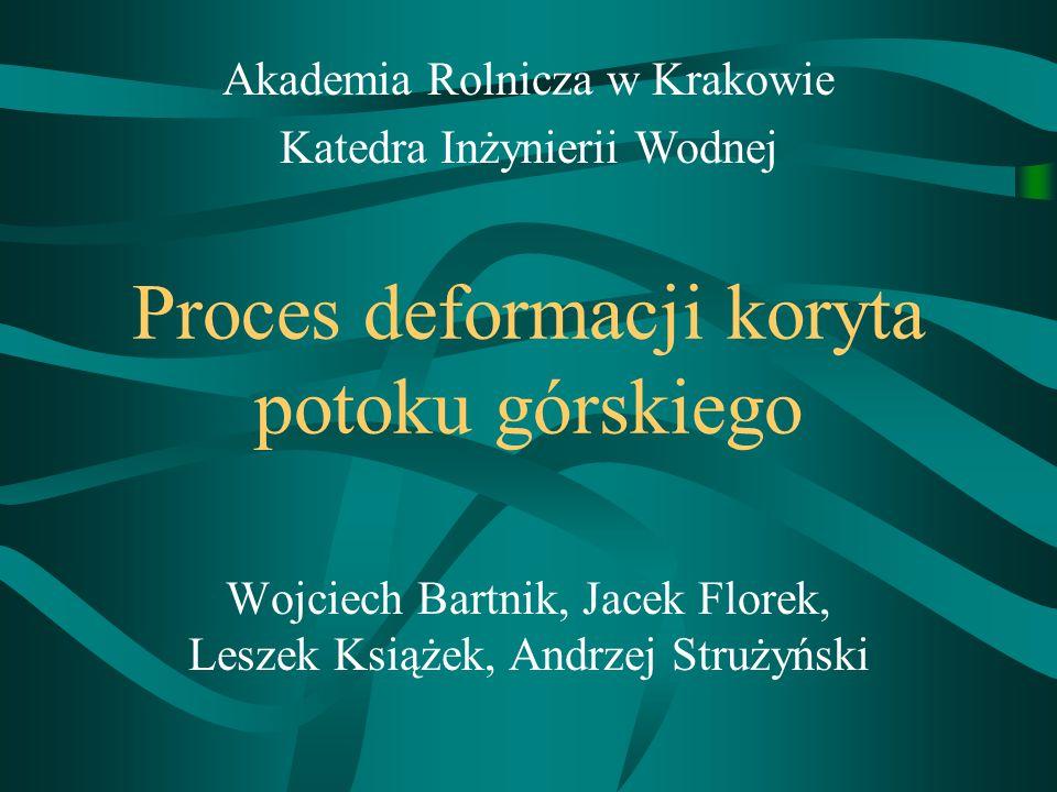Proces deformacji koryta potoku górskiego Wojciech Bartnik, Jacek Florek, Leszek Książek, Andrzej Strużyński Akademia Rolnicza w Krakowie Katedra Inżynierii Wodnej
