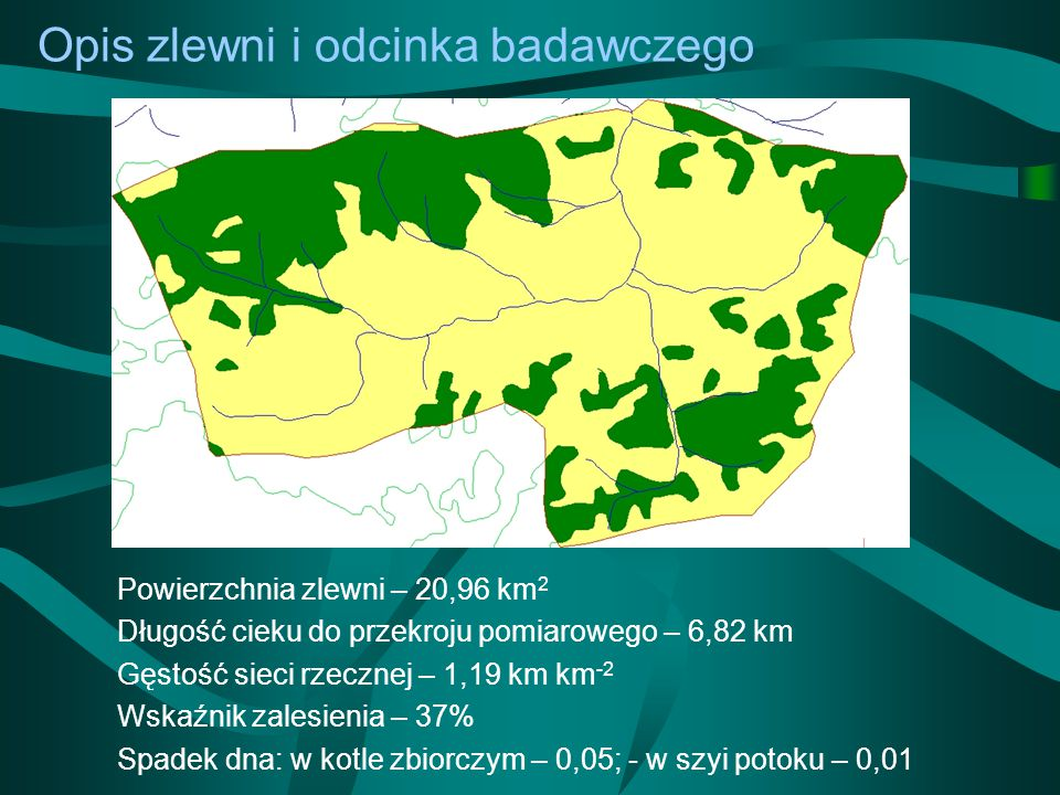 Wnioski -Naprężenia graniczne w badanej części potoku Krzczonowskiego -- 68-70 [N m -2 ], -maksymalne naprężenia ścinające -- 302 [N m -2 ], -warunki hydrauliczne nie sprzyjały tworzeniu się warstwy obrukowania.
