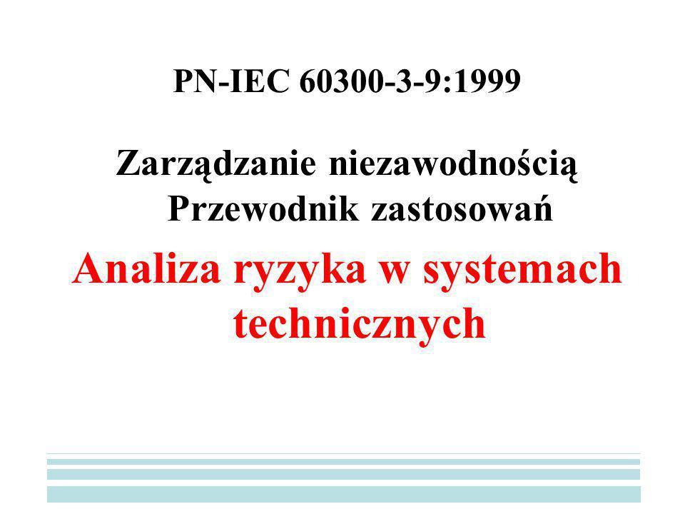 PN-IEC 60300-3-9:1999 Zarządzanie niezawodnością Przewodnik zastosowań Analiza ryzyka w systemach technicznych