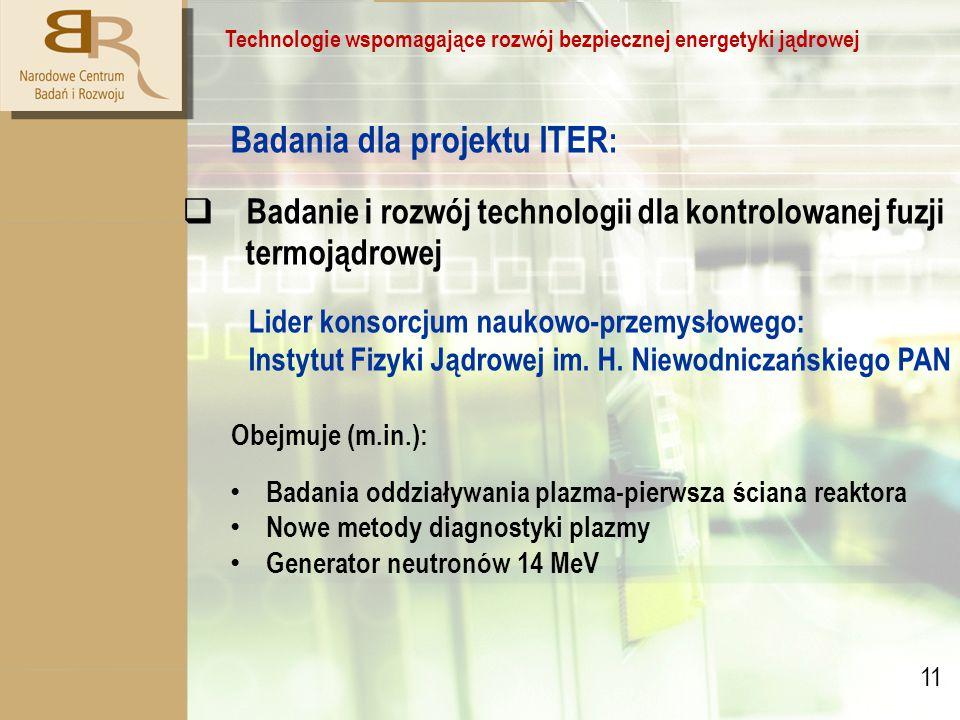 11 Technologie wspomagające rozwój bezpiecznej energetyki jądrowej Badania dla projektu ITER :  Badanie i rozwój technologii dla kontrolowanej fuzji termojądrowej Lider konsorcjum naukowo-przemysłowego: Instytut Fizyki Jądrowej im.