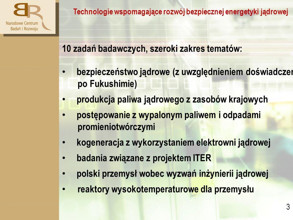 3 3 Technologie wspomagające rozwój bezpiecznej energetyki jądrowej 10 zadań badawczych, szeroki zakres tematów: bezpieczeństwo jądrowe (z uwzględnieniem doświadczeń po Fukushimie) produkcja paliwa jądrowego z zasobów krajowych postępowanie z wypalonym paliwem i odpadami promieniotwórczymi kogeneracja z wykorzystaniem elektrowni jądrowej badania związane z projektem ITER polski przemysł wobec wyzwań inżynierii jądrowej reaktory wysokotemperaturowe dla przemysłu