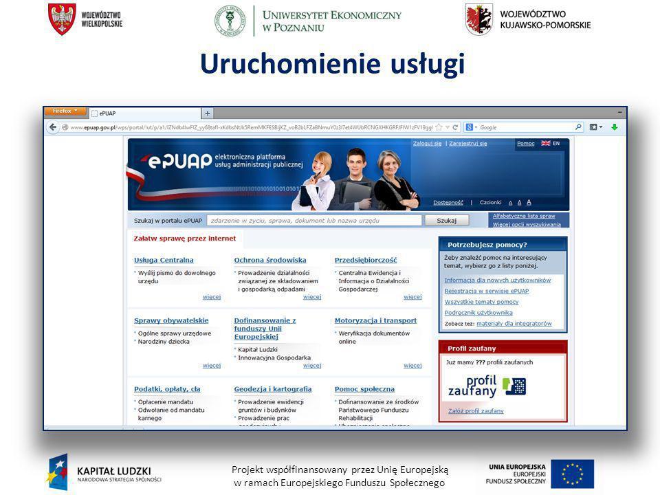 Projekt współfinansowany przez Unię Europejską w ramach Europejskiego Funduszu Społecznego Uruchomienie usługi