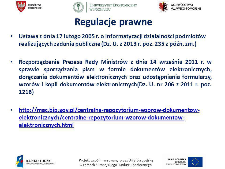 Projekt współfinansowany przez Unię Europejską w ramach Europejskiego Funduszu Społecznego Regulacje prawne Ustawa z dnia 17 lutego 2005 r. o informat