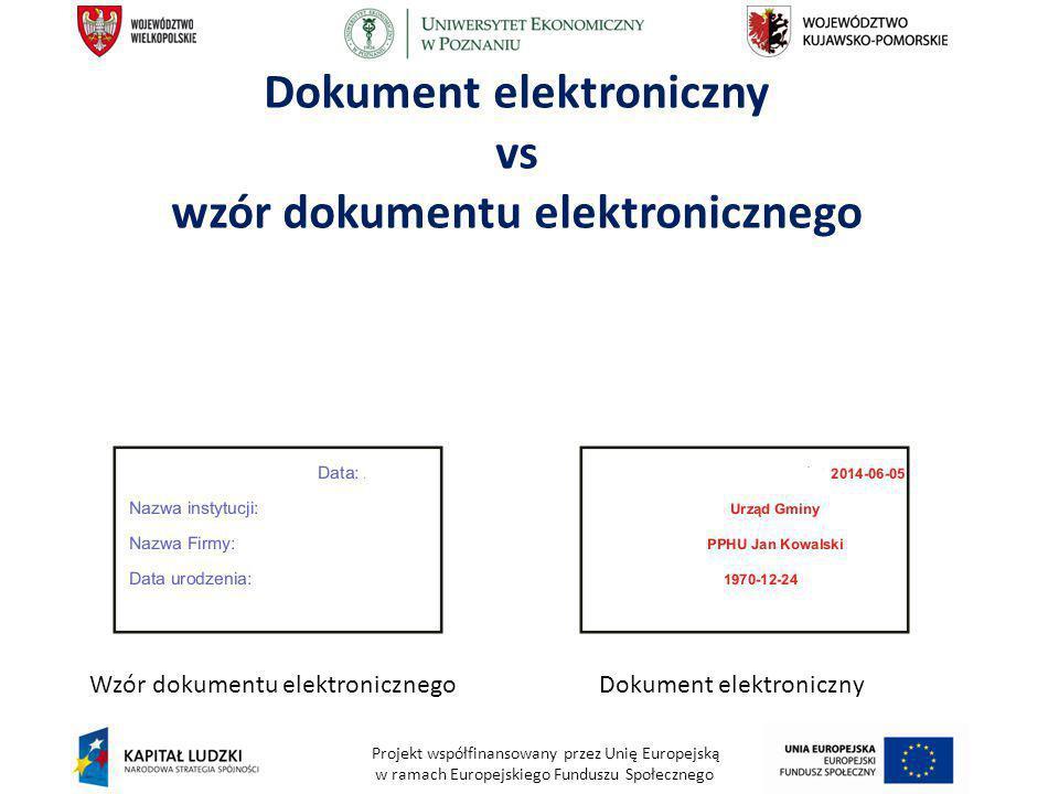 Projekt współfinansowany przez Unię Europejską w ramach Europejskiego Funduszu Społecznego Dokument elektroniczny vs wzór dokumentu elektronicznego Wz