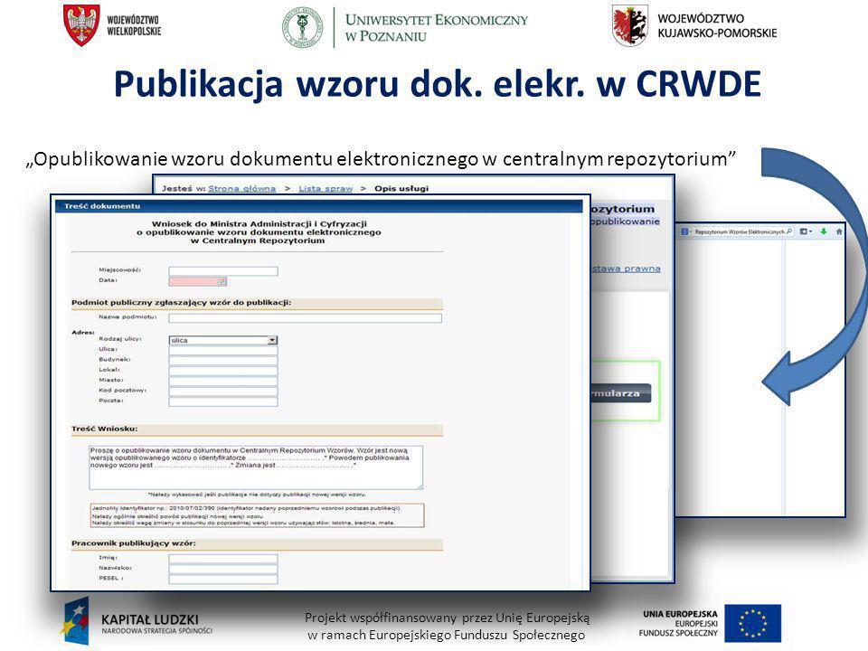 """Projekt współfinansowany przez Unię Europejską w ramach Europejskiego Funduszu Społecznego Publikacja wzoru dok. elekr. w CRWDE """"Opublikowanie wzoru d"""