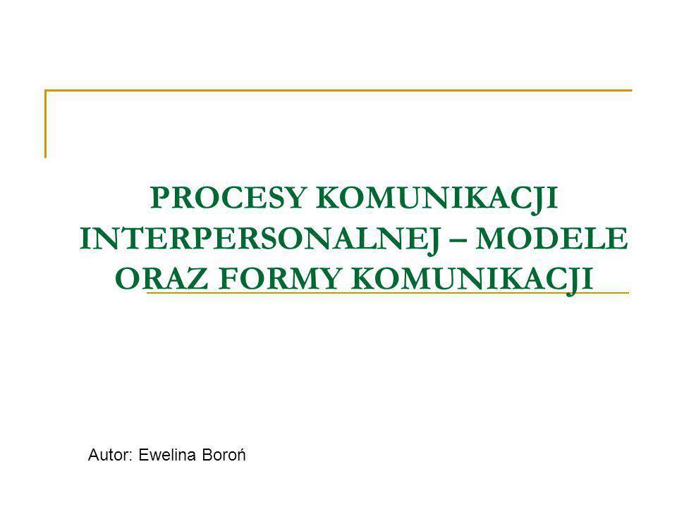 PROCESY KOMUNIKACJI INTERPERSONALNEJ – MODELE ORAZ FORMY KOMUNIKACJI Autor: Ewelina Boroń