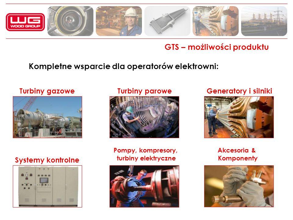 GTS – możliwości produktu Kompletne wsparcie dla operatorów elektrowni: Turbiny gazowe Turbiny paroweGeneratory i silniki Controls Pompy, kompresory,