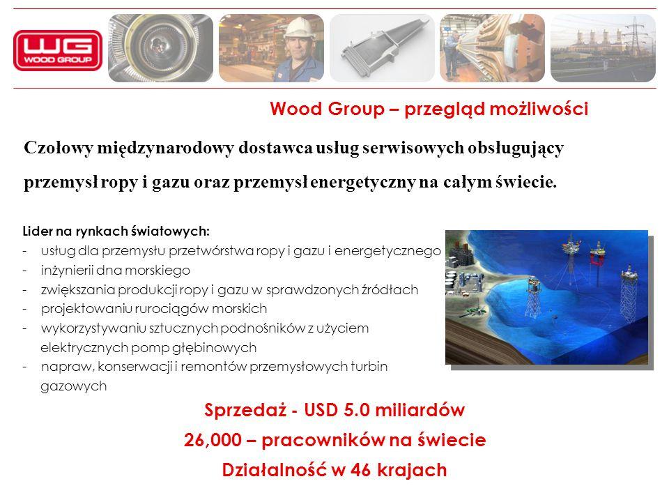 Wood Group – przegląd możliwości Lider na rynkach światowych: - usług dla przemysłu przetwórstwa ropy i gazu i energetycznego - inżynierii dna morskie