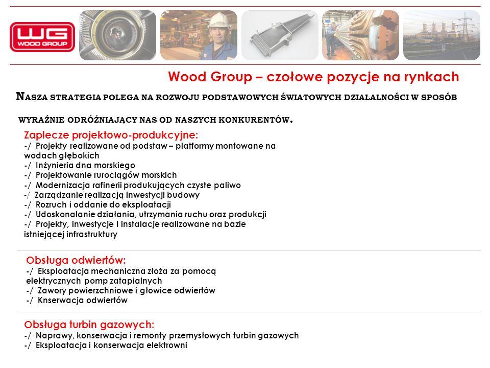 Wood Group – czołowe pozycje na rynkach N ASZA STRATEGIA POLEGA NA ROZWOJU PODSTAWOWYCH ŚWIATOWYCH DZIAŁALNOŚCI W SPOSÓB WYRAŹNIE ODRÓŻNIAJĄCY NAS OD NASZYCH KONKURENTÓW.