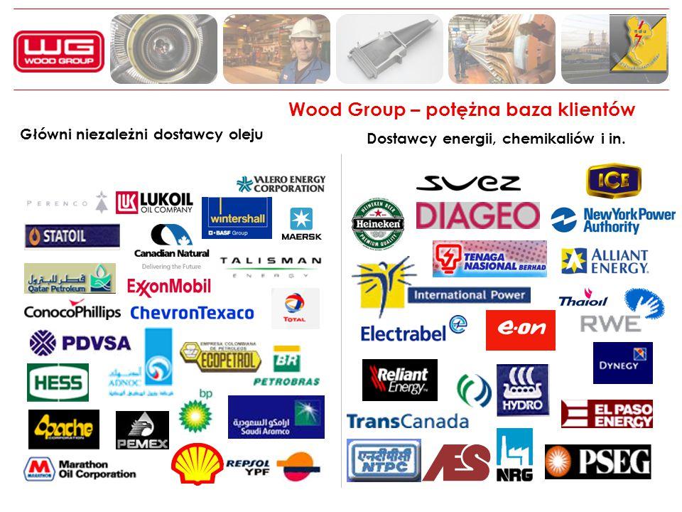 Wood Group – potężna baza klientów Główni niezależni dostawcy oleju Dostawcy energii, chemikaliów i in.
