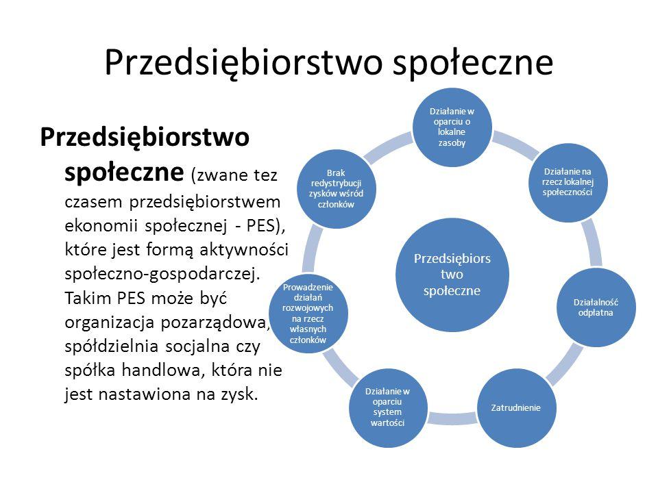 Przedsiębiorstwo społeczne Przedsiębiorstwo społeczne (zwane tez czasem przedsiębiorstwem ekonomii społecznej - PES), które jest formą aktywności społ