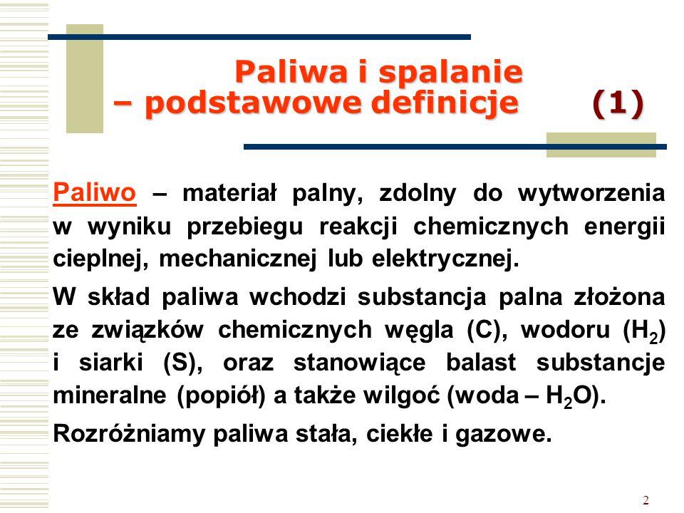 2 Paliwa i spalanie – podstawowe definicje (1) Paliwo – materiał palny, zdolny do wytworzenia w wyniku przebiegu reakcji chemicznych energii cieplnej,