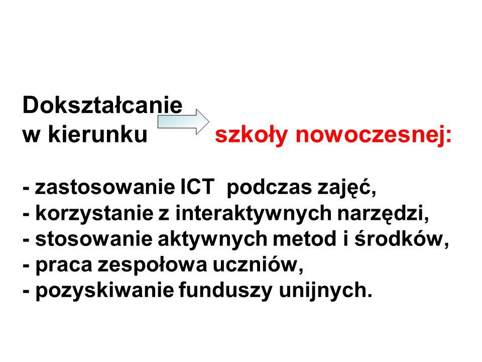 Dokształcanie w kierunku szkoły nowoczesnej: - zastosowanie ICT podczas zajęć, - korzystanie z interaktywnych narzędzi, - stosowanie aktywnych metod i