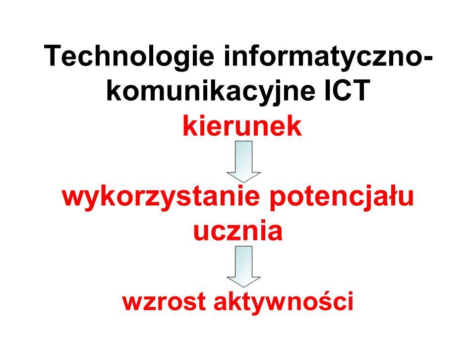 Technologie informatyczno- komunikacyjne ICT kierunek wykorzystanie potencjału ucznia wzrost aktywności
