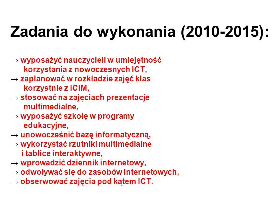 Zadania do wykonania (2010-2015): → wyposażyć nauczycieli w umiejętność korzystania z nowoczesnych ICT, → zaplanować w rozkładzie zajęć klas korzystni