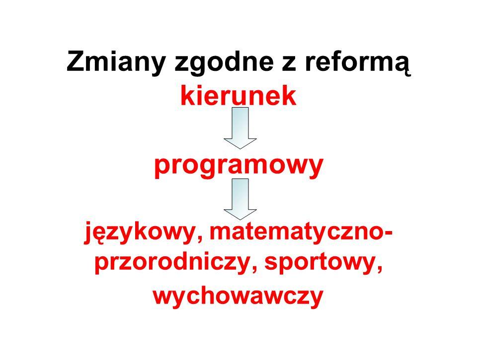 Zmiany zgodne z reformą kierunek programowy językowy, matematyczno- przorodniczy, sportowy, wychowawczy