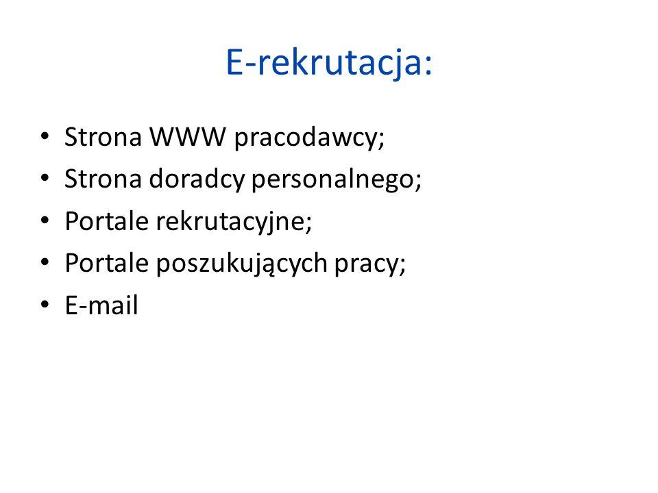 E-rekrutacja: Strona WWW pracodawcy; Strona doradcy personalnego; Portale rekrutacyjne; Portale poszukujących pracy; E-mail