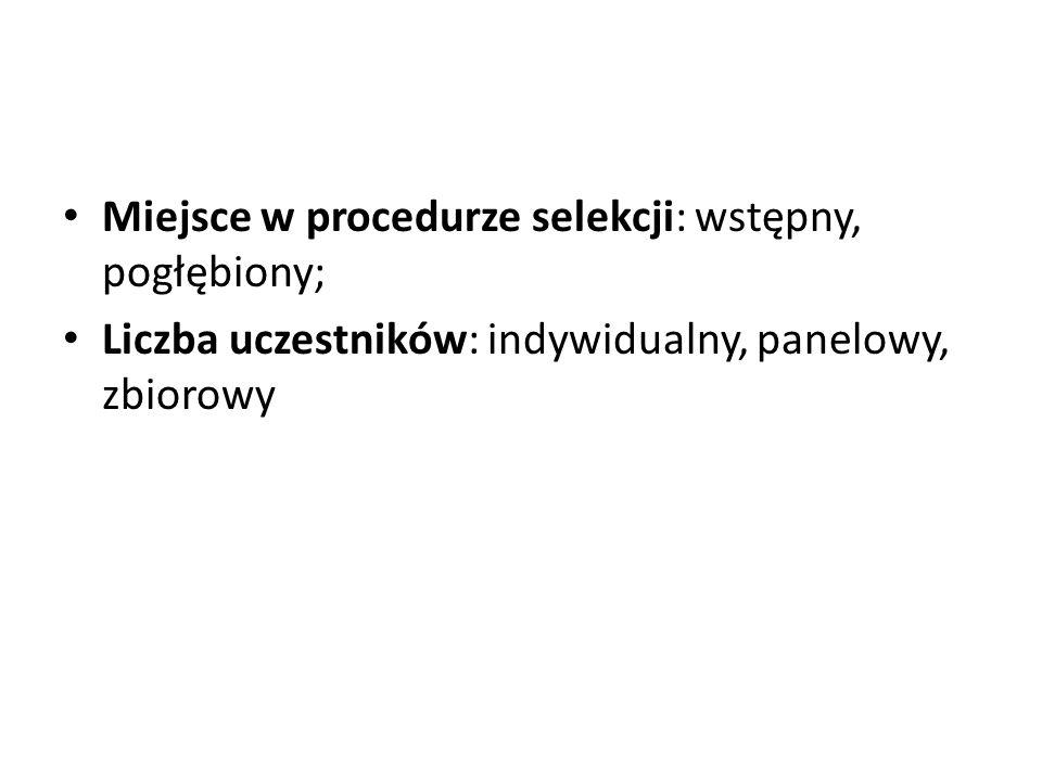 Miejsce w procedurze selekcji: wstępny, pogłębiony; Liczba uczestników: indywidualny, panelowy, zbiorowy