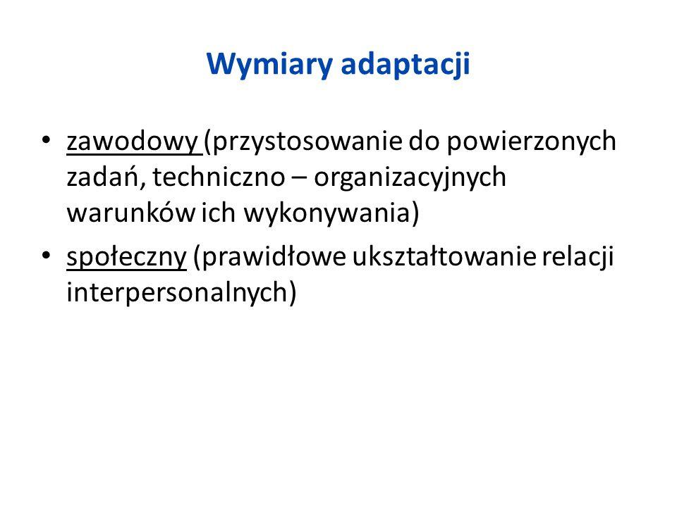 Wymiary adaptacji zawodowy (przystosowanie do powierzonych zadań, techniczno – organizacyjnych warunków ich wykonywania) społeczny (prawidłowe ukształ