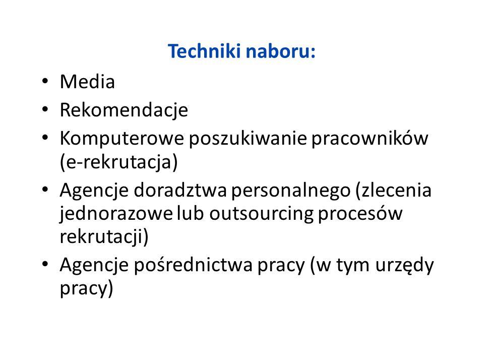 Techniki naboru: Media Rekomendacje Komputerowe poszukiwanie pracowników (e-rekrutacja) Agencje doradztwa personalnego (zlecenia jednorazowe lub outso