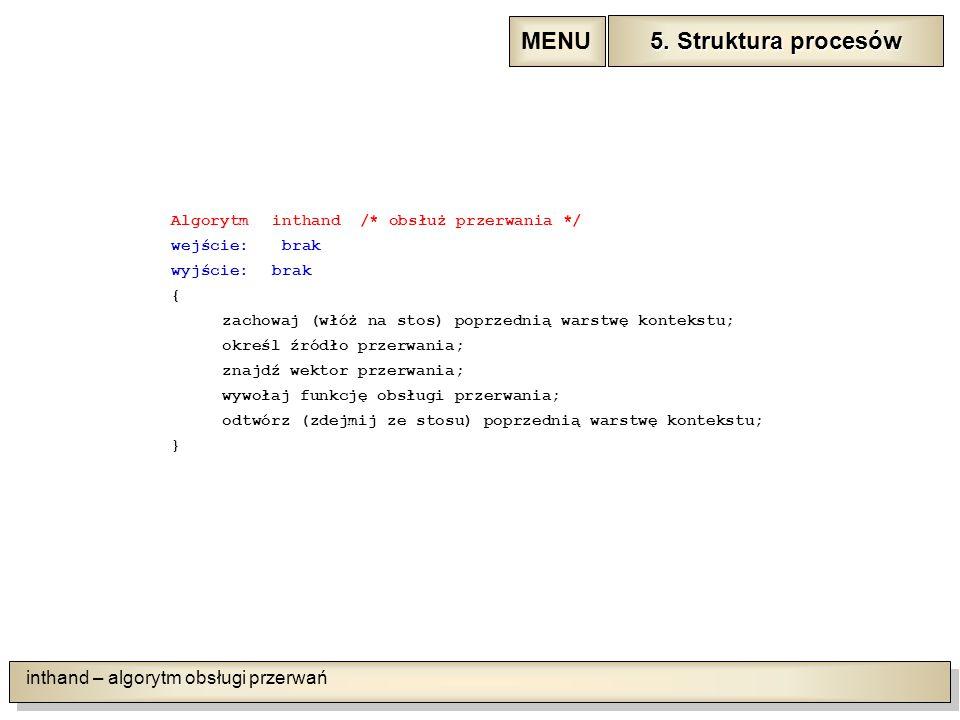 inthand – algorytm obsługi przerwań Algorytminthand /* obsłuż przerwania */ wejście: brak wyjście:brak { zachowaj (włóż na stos) poprzednią warstwę kontekstu; określ źródło przerwania; znajdź wektor przerwania; wywołaj funkcję obsługi przerwania; odtwórz (zdejmij ze stosu) poprzednią warstwę kontekstu; } 5.