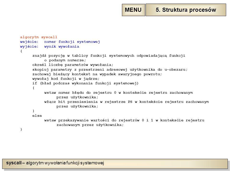 syscall – algorytm wywołania funkcji systemowej algorytm syscall wejście:numer funkcji systemowej wyjście:wynik wywołania { znajdź pozycję w tablicy funkcji systemowych odpowiadającą funkcji o podanym numerze; określ liczbę parametrów wywołania; skopiuj parametry z przestrzeni adresowej użytkownika do u-obszaru; zachowaj bieżący kontekst na wypadek awaryjnego powrotu; wywołaj kod funkcji w jądrze; if (bład podczas wykonania funkcji systemowej) { wstaw numer błędu do rejestru 0 w konteksćie rejestru zachowanym przez użytkownika; włącz bit przeniesienia w rejestrze PS w kontekście rejestru zachowanym przez użytkownika; } else wstaw przekazywanie wartości do rejestrów 0 i 1 w konteksćie rejestru zachowanym przez użytkownika; } 5.