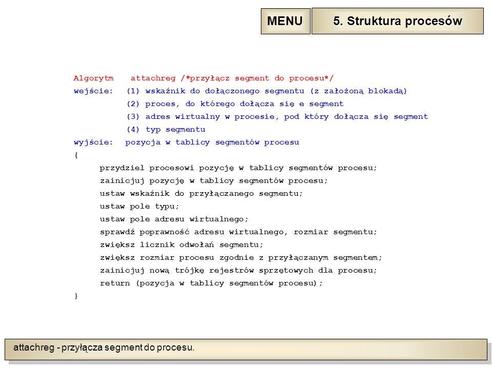 attachreg - przyłącza segment do procesu.