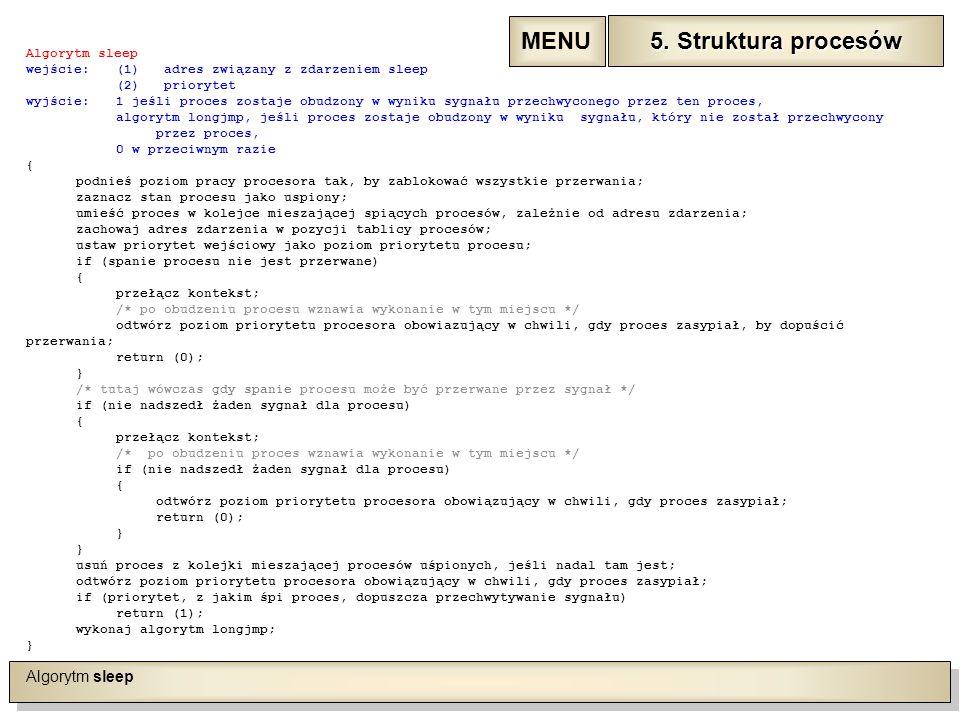 Algorytm sleep wejście:(1) adres związany z zdarzeniem sleep (2) priorytet wyjście:1 jeśli proces zostaje obudzony w wyniku sygnału przechwyconego przez ten proces, algorytm longjmp, jeśli proces zostaje obudzony w wyniku sygnału, który nie został przechwycony przez proces, 0 w przeciwnym razie { podnieś poziom pracy procesora tak, by zablokować wszystkie przerwania; zaznacz stan procesu jako uspiony; umieść proces w kolejce mieszającej spiących procesów, zależnie od adresu zdarzenia; zachowaj adres zdarzenia w pozycji tablicy procesów; ustaw priorytet wejściowy jako poziom priorytetu procesu; if (spanie procesu nie jest przerwane) { przełącz kontekst; /* po obudzeniu procesu wznawia wykonanie w tym miejscu */ odtwórz poziom priorytetu procesora obowiazujący w chwili, gdy proces zasypiał, by dopuścić przerwania; return (0); } /* tutaj wówczas gdy spanie procesu może być przerwane przez sygnał */ if (nie nadszedł żaden sygnał dla procesu) { przełącz kontekst; /* po obudzeniu proces wznawia wykonanie w tym miejscu */ if (nie nadszedł żaden sygnał dla procesu) { odtwórz poziom priorytetu procesora obowiązujący w chwili, gdy proces zasypiał; return (0); } usuń proces z kolejki mieszającej procesów uśpionych, jeśli nadal tam jest; odtwórz poziom priorytetu procesora obowiązujący w chwili, gdy proces zasypiał; if (priorytet, z jakim śpi proces, dopuszcza przechwytywanie sygnału) return (1); wykonaj algorytm longjmp; } 5.
