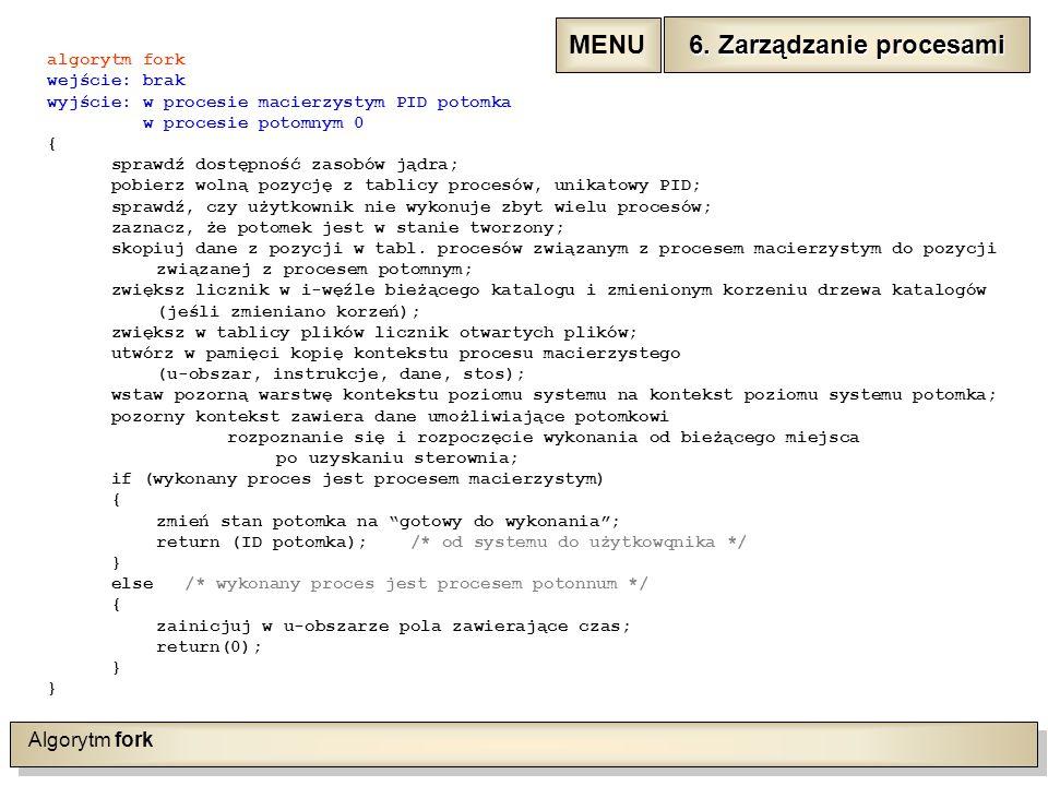 Algorytm fork algorytm fork wejście: brak wyjście: w procesie macierzystym PID potomka w procesie potomnym 0 { sprawdź dostępność zasobów jądra; pobierz wolną pozycję z tablicy procesów, unikatowy PID; sprawdź, czy użytkownik nie wykonuje zbyt wielu procesów; zaznacz, że potomek jest w stanie tworzony; skopiuj dane z pozycji w tabl.