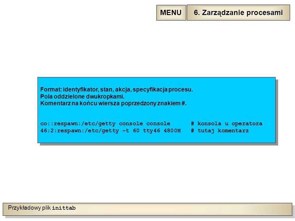 Przykładowy plik inittab Format: identyfikator, stan, akcja, specyfikacja procesu.