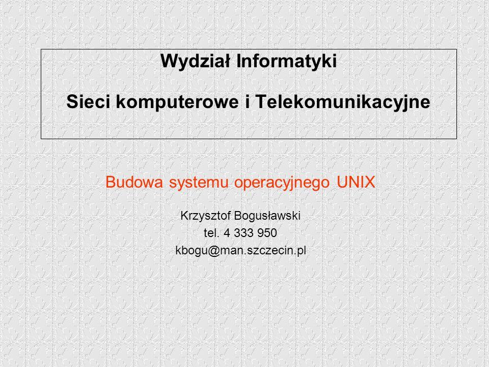 Wydział Informatyki Sieci komputerowe i Telekomunikacyjne Budowa systemu operacyjnego UNIX Krzysztof Bogusławski tel.