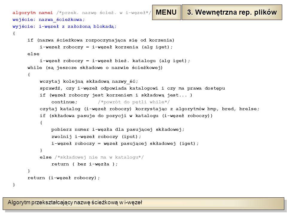 Algorytm przekształcający nazwę ścieżkową w i-węzeł algorytm namei /*przek.