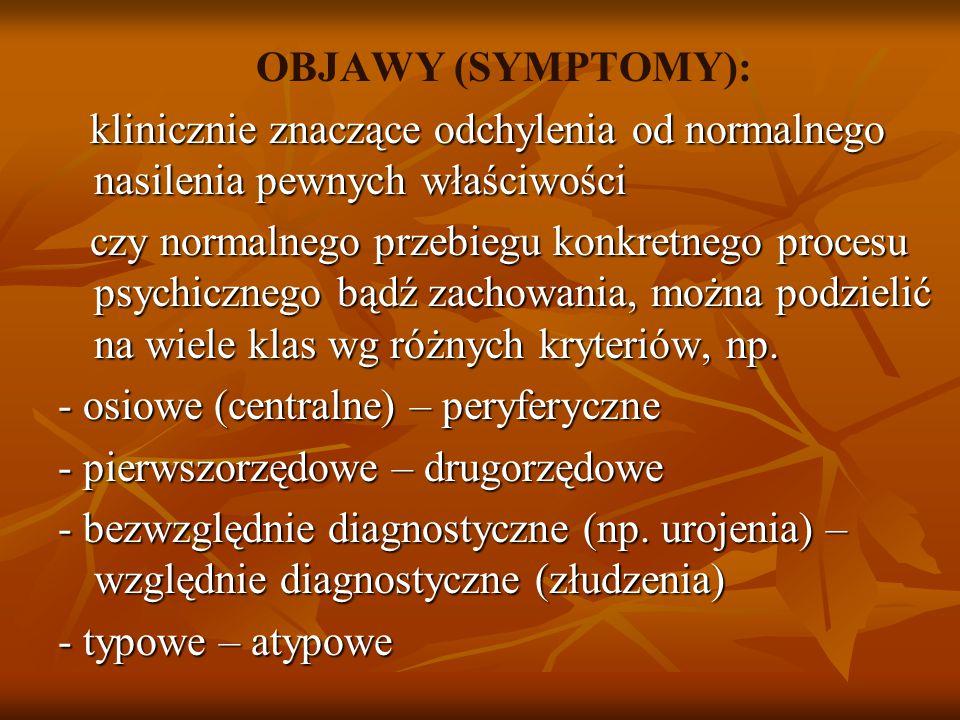OBJAWY (SYMPTOMY): klinicznie znaczące odchylenia od normalnego nasilenia pewnych właściwości klinicznie znaczące odchylenia od normalnego nasilenia pewnych właściwości czy normalnego przebiegu konkretnego procesu psychicznego bądź zachowania, można podzielić na wiele klas wg różnych kryteriów, np.