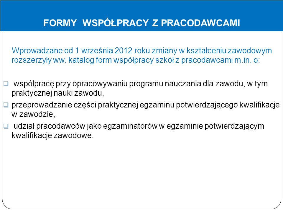 FORMY WSPÓŁPRACY Z PRACODAWCAMI Wprowadzane od 1 września 2012 roku zmiany w kształceniu zawodowym rozszerzyły ww. katalog form współpracy szkół z pra