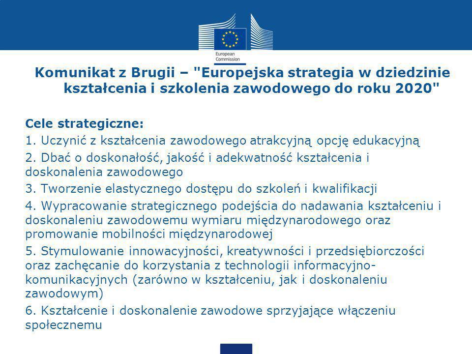 Komunikat z Brugii – Europejska strategia w dziedzinie kształcenia i szkolenia zawodowego do roku 2020 Cele strategiczne: 1.