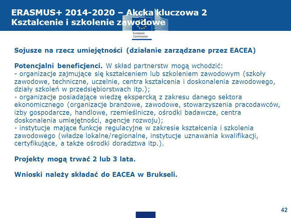 Sojusze na rzecz umiejętności (działanie zarządzane przez EACEA) Potencjalni beneficjenci.