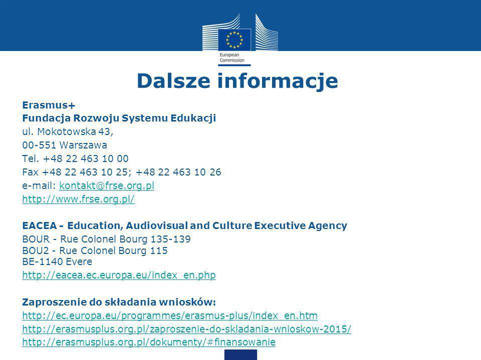 Dalsze informacje Erasmus+ Fundacja Rozwoju Systemu Edukacji ul.